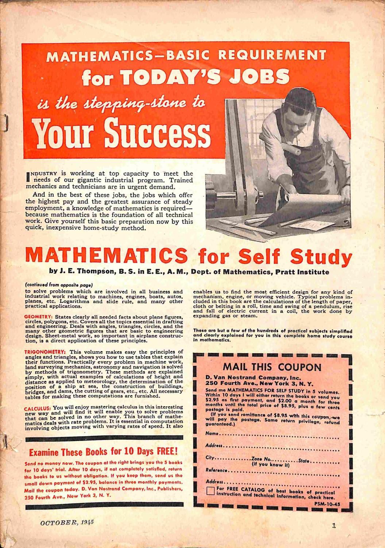 Popular Science Magazine, October 1945