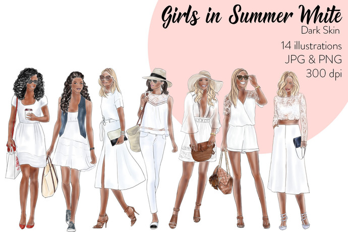 Watercolour Fashion Illustration Clipart - Girls in Summer White - Dark Skin