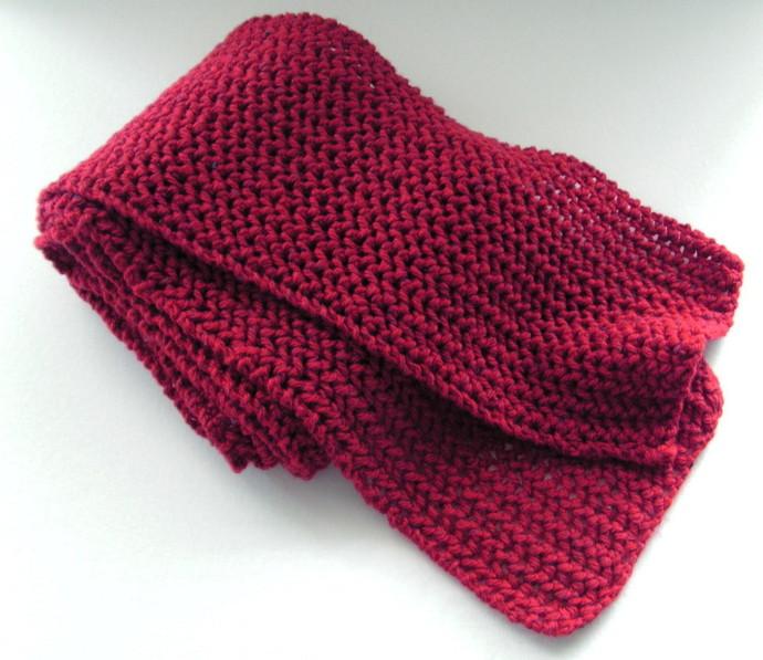 Dark Red Scarf Hand Knit In Wool Silk Yarn By Purple Wisteria On