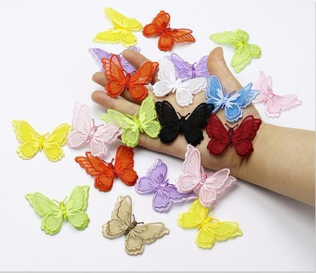 stl 3D Double Layer Butterfly Embroidered Lace Applique