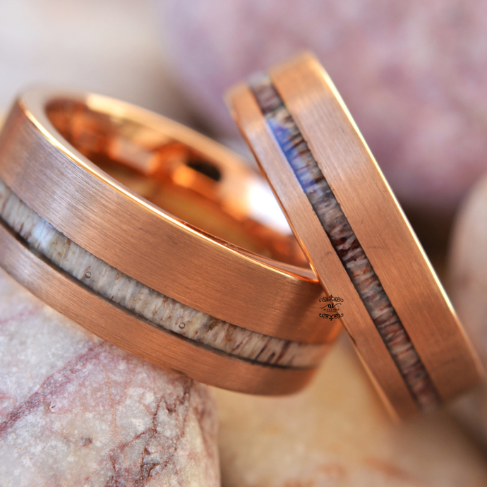 6mm Rose Gold IP Tungsten Wedding with Deer Antler Ring