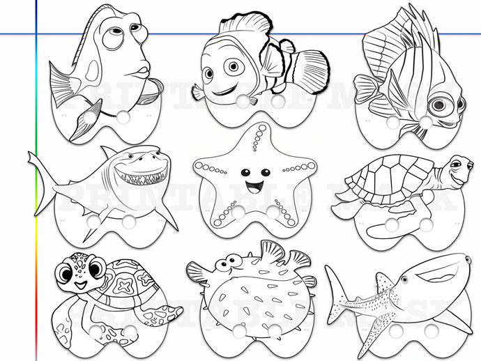 graphic regarding Printable Masks for Kids called Special Getting Nemo Dory Printable Coloring Masks, little ones gown, Dory mask, Nemo mask, fish celebration mask, paper mask, Nemo or Dory get together, do it yourself