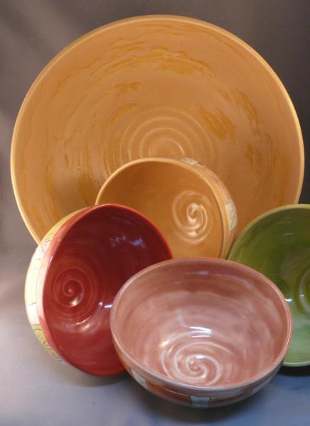 Salad bowl set - four personal size and one serving bowl