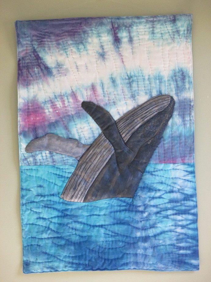"""Humpback Whale Rising wall hanging 20"""" x 28"""""""