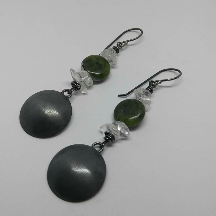 Oxidized sterling silver, China jade, and crystal quartz earrings