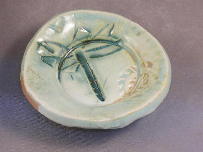 Trinket dish with dragonfly design
