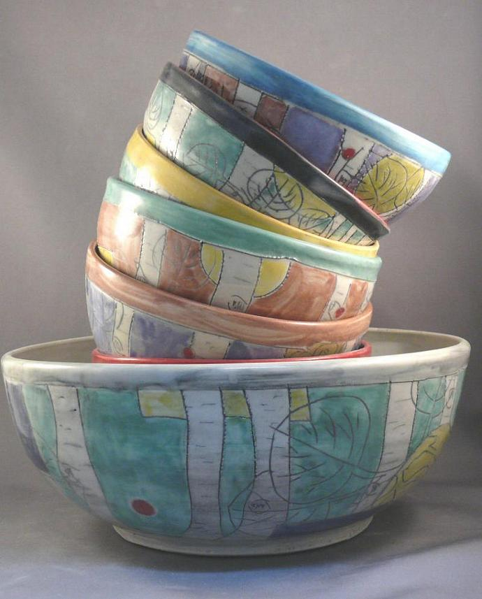 Salad bowl set - six personal size and one large serving bowl