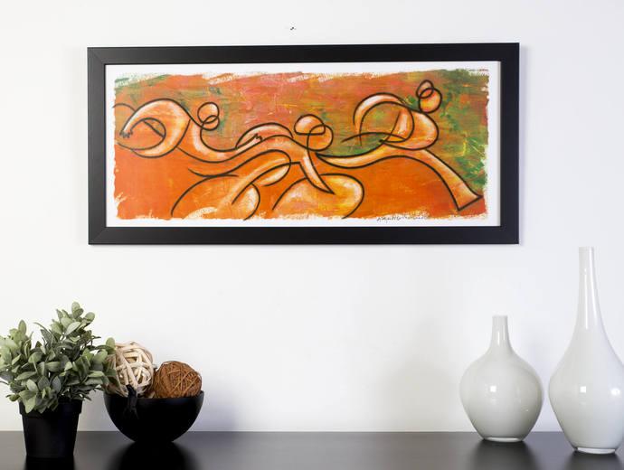 Orange Triathlon Sequence, Triathlon Art Print - Ironman Triathlon wall decor -