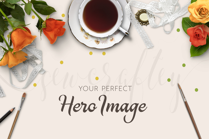 Victorian Antique Teacup Floral Stock Photo Mockup | Styled Stock | Product
