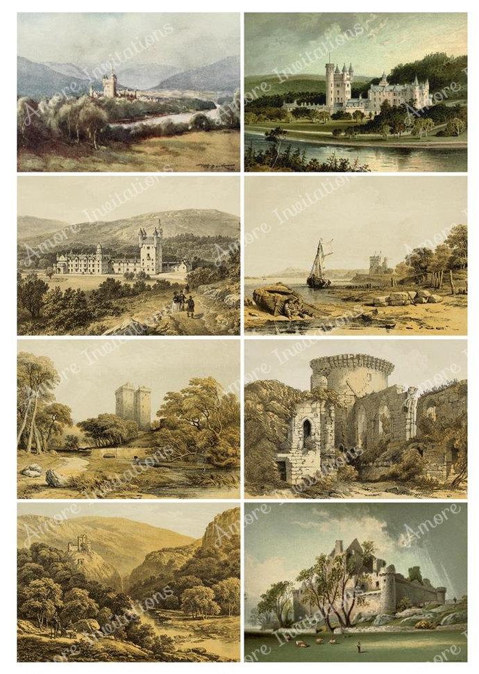 Printable Vintage Scottish  Scotland Castles Digital Collage Sheets Set  JPEG