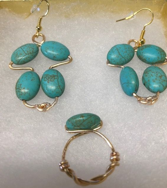Turquoise Beaded Earring & Ring Set