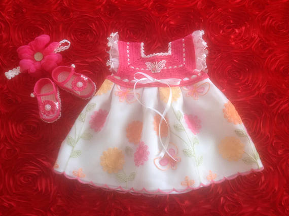 Newborn Baby Girl Coming Home Dress Set - Hot Pink & White