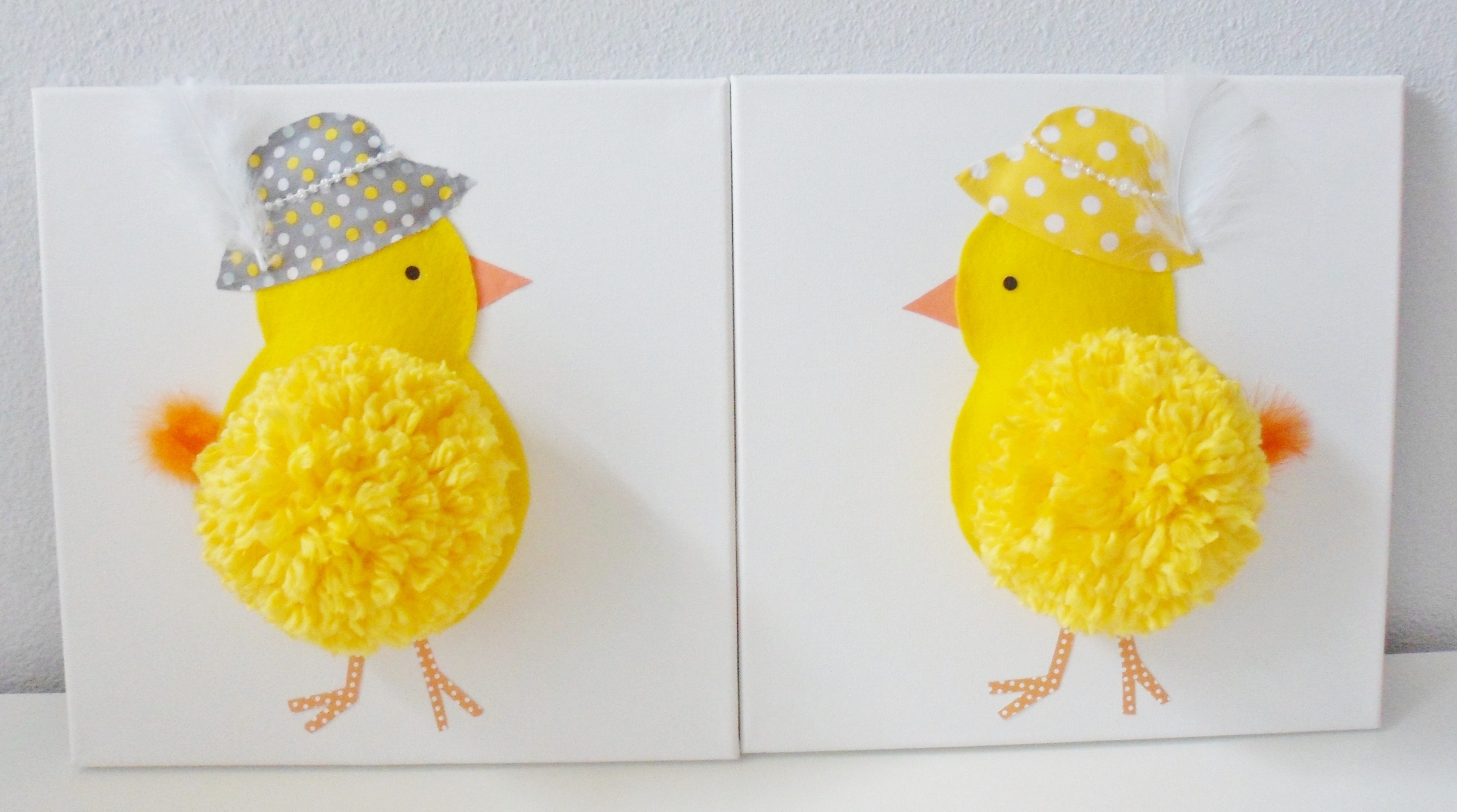 SALE! Pompom Little Chicks Canvas for Nursery,3D by Pomponos on Zibbet