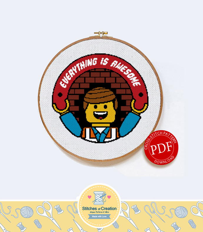 Lego Movie Everything is Awesome | Digital Download | Geek Cross Stitch Pattern