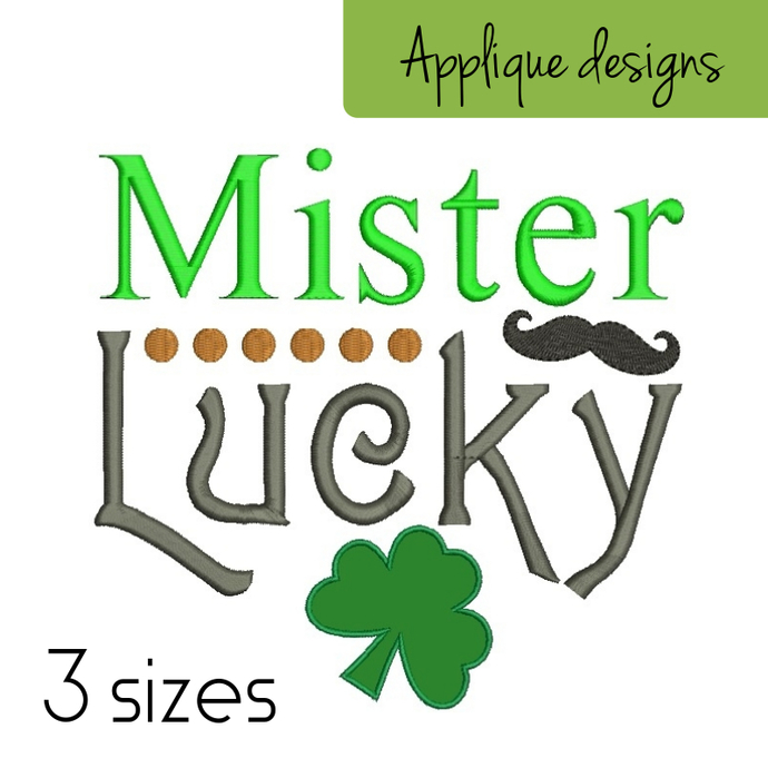 Embroidery designs Mister Lucky St.Patrick's Day Shamrock pattern machine