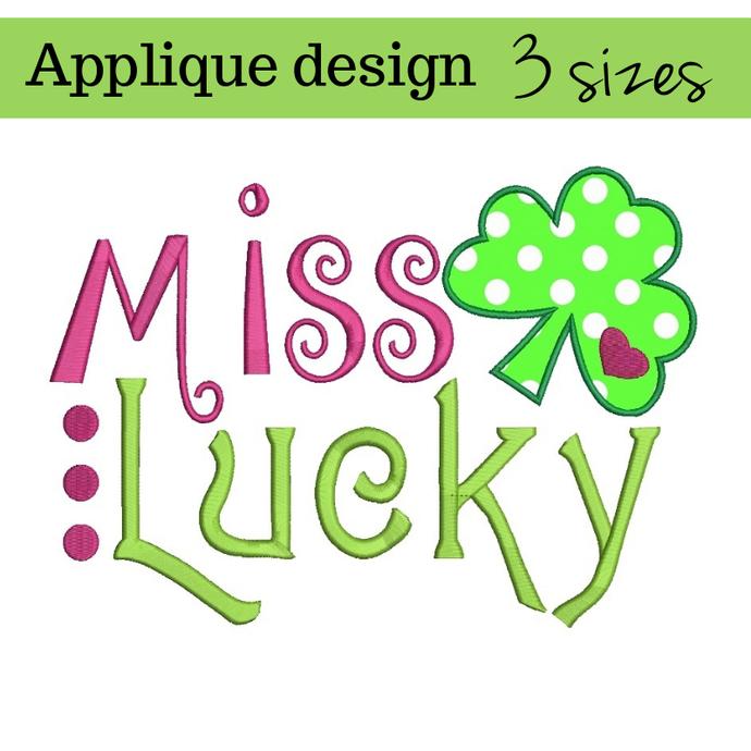 Embroidery designs Miss Lucky St.Patrick's Day Shamrock pattern machine digital