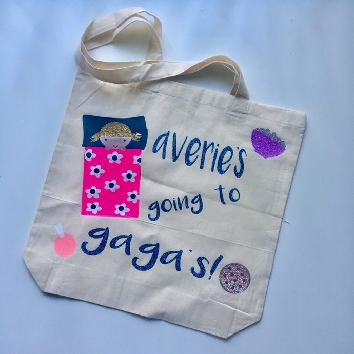 Going to grandmas house, tote bag, kids sleepover personalized overnight bag,