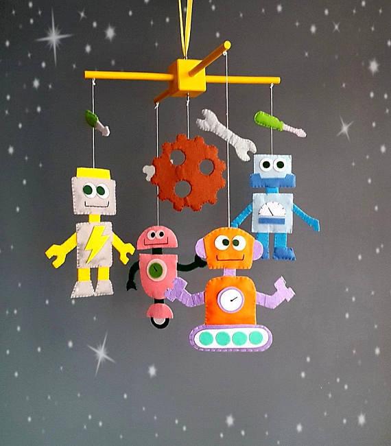 Robots baby crib mobile Nursery monster mobile Aliens mobile Handmade Felt