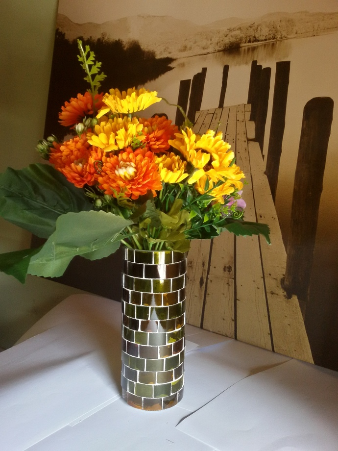 Vase Made Out From Recycled Glass Bottles - A02