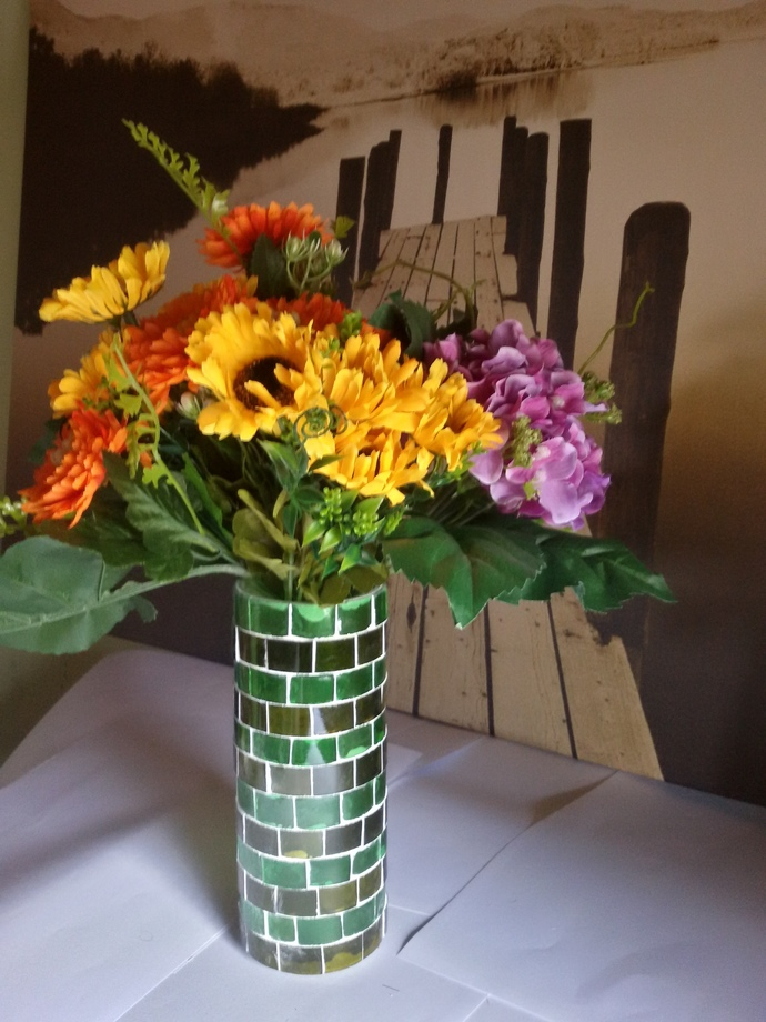 Vase Made Out From Recycled Glass Bottles - A04
