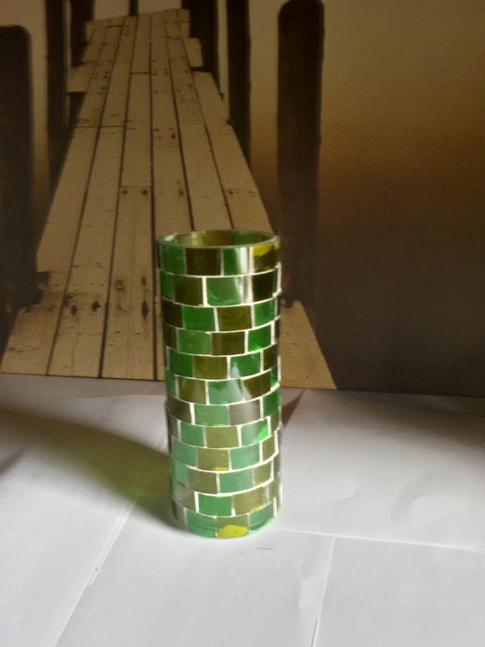 Vase Made Out From Recycled Glass Bottles - A06