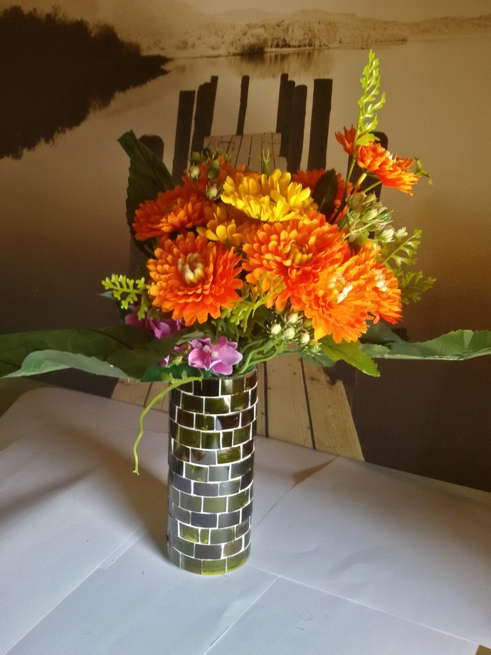 Vase Made Out From Recycled Glass Bottles - A08