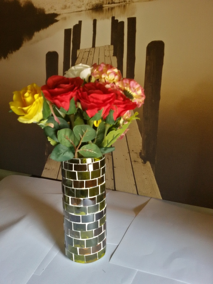 Vase Made Out From Recycled Glass Bottles - A010