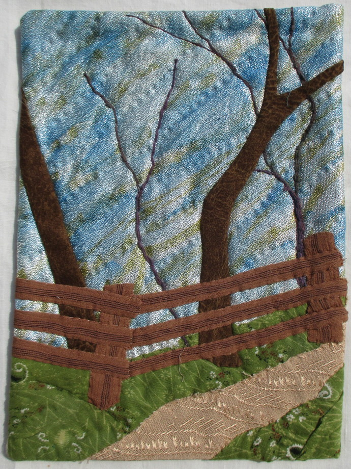 """Path Above the Shore, a small wall quilt 9""""x12"""""""