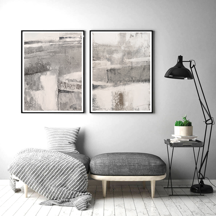 Abstract digital , beige and grey painting, Neutral Minimalist Print , abstract