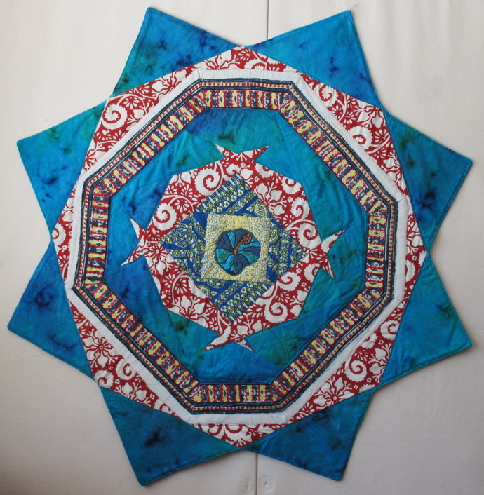 """Bright Star quilted tablecloth or wallhanging 41""""x41"""""""