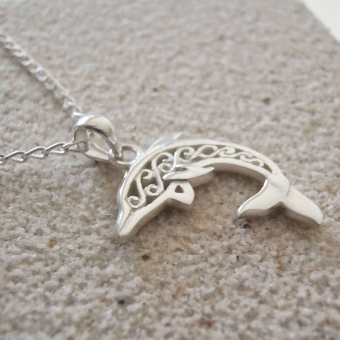sterling silver dolphin necklace, Sterling Silver Filigree Dolphin Necklace,