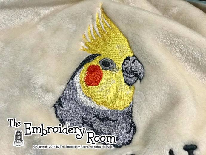NEW ITEM-Cockatiel Custom Embroidered Family Size Blanket