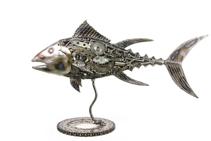 Tuna fish metal art sculpture
