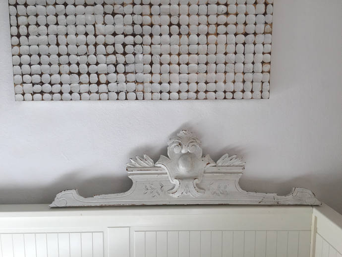 Large wooden pediment for bed or door