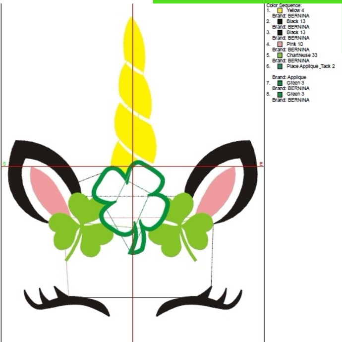 Unicorn face embroidery designs Lucky St.Patrick's Day Shamrock applique pattern