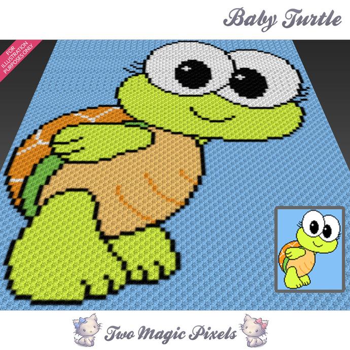 [SC] Baby Turtle Crochet Blanket Pattern Cross Stitch Graph Pdf Download Written Counts SC Rowbyrow Counts Included Awesome Crochet Turtle Blanket Pattern