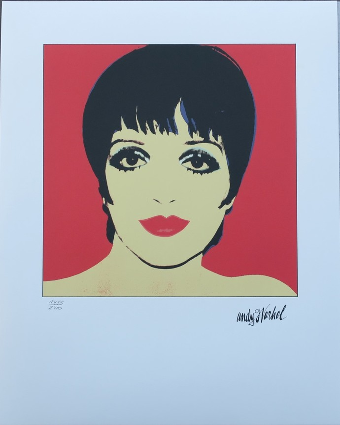 Andy Warhol lithograph Liza Minnelli red authenticated signed print