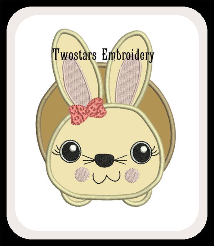 Girl Boy bunnies. 4x4 5x7 digital applique designs.