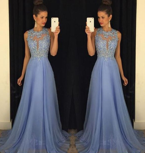Charming Prom Dress,Chiffon Prom Gown,Appliques Prom Dress,Backless Prom Gown