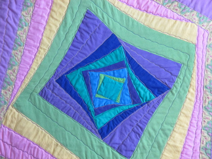 "April Awakening, a lap quilt, child's quilt, or large wall hanging 43""x54"""