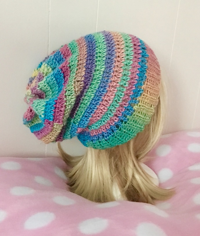 READY TO SHIP Crochet Pastel Rainbow Lightweight Slouchy Hat - Women's / Teens