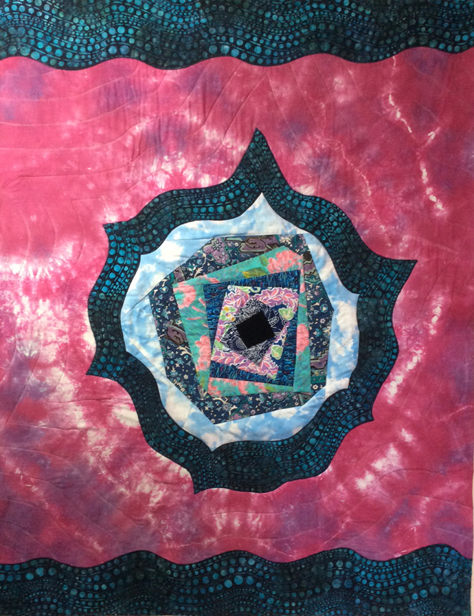 "Cosmic Quilt, a small quilt or large wallhanging 37""x48"""