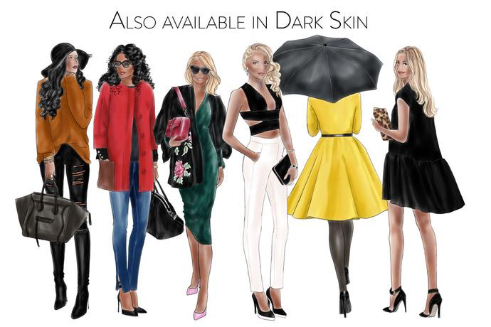 Fashion girls - volume 11 - Light skin Watercolour fashion illustration clipart