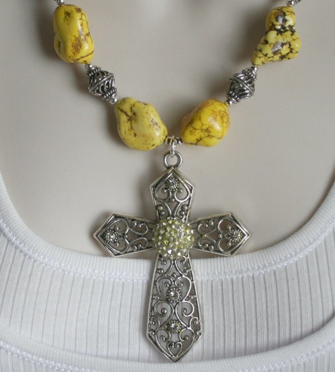 Western Chunky Yellow Turquoise Cowgirl Statement Necklace, Cross Pendant