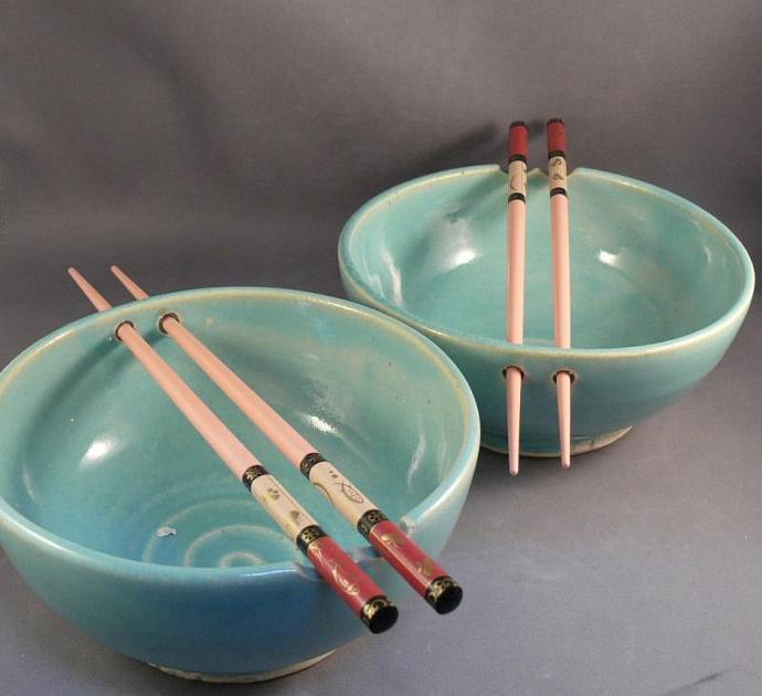 Two Rice Bowls with Chopsticks