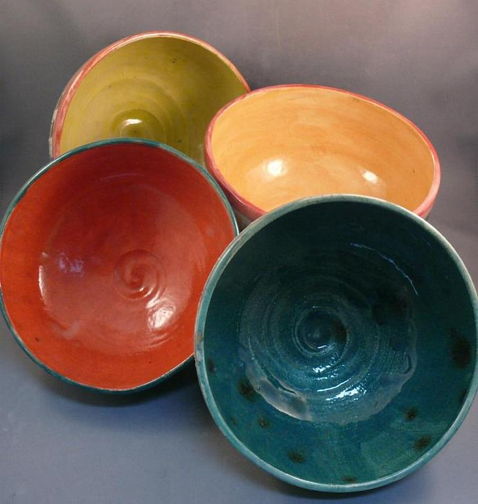 Set of 4 colorful soup bowls - made to order