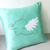 Custom Your Color. Pom Pom Rabbits Turquoise Light Grey Decorative Pillow Cover.