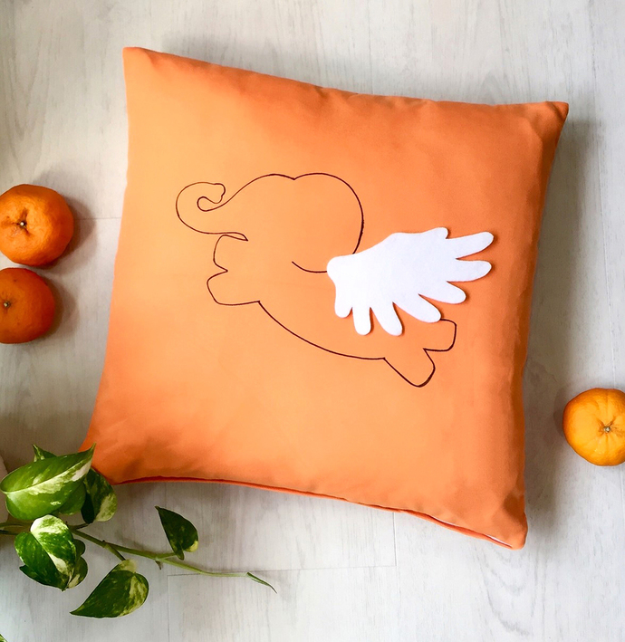 Color Choice Flying Elephant Orange By SmilingCloud On Zibbet Stunning Orange Decorative Pillows For Couch