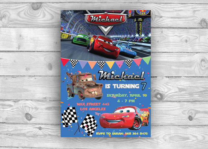 Disney Cars Invitation Cars Birthday by Design Your Time on Zibbet