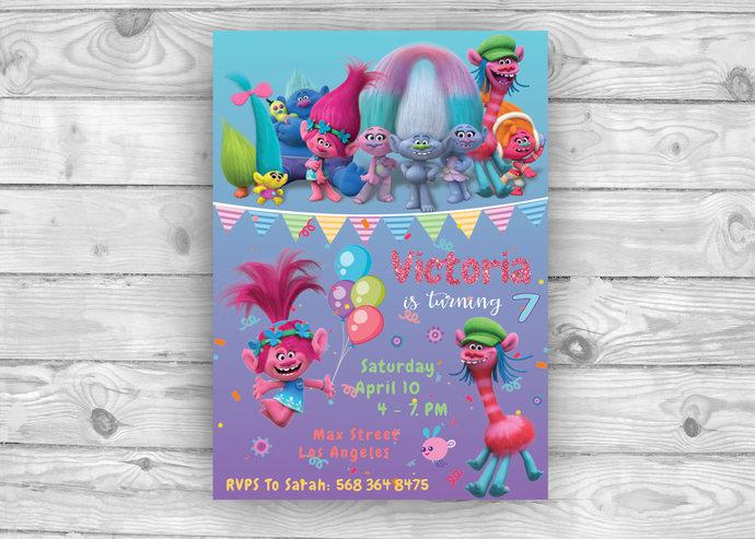 Trolls Invite Invitation Birthday Party